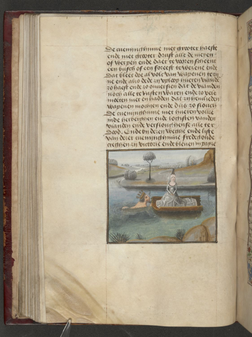 A page from a Flemish translation of Christine de Pizan's Cité des dames, showing an illustration of the infant Camilla being taken across a river in a boat by her father.