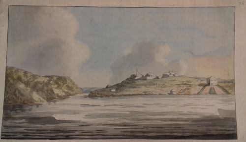 Watercolour view of Newfoundland from the sea
