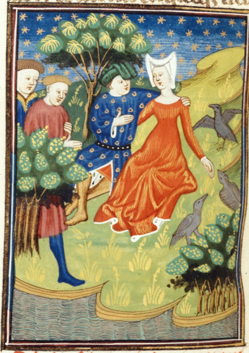 A detail from a manuscript of Boccaccio's work on famous women, showing an illustration of Circe as a lover surrounded by animals.