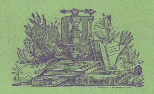 Vignette showing a printing press and books