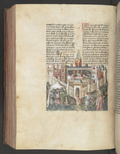 A page from a 15th-century manuscript of the Histoire universelle, showing an illustration of the destruction of Troy.