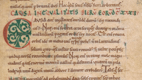 A detail from an early medieval manuscript, showing the text of Bede's De Temporum Ratione.