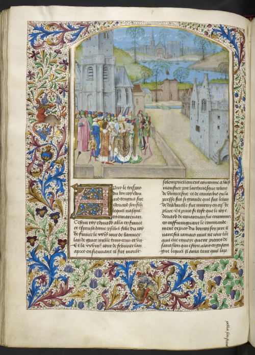 A page from a manuscript of Wavrin's Chroniques d'Angleterre, showing an illustration of the wedding of Edward II and Isabella of France