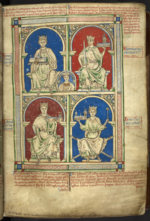 A page from a manuscript of Matthew Paris' Historia Anglorum, showing an illustration of four Kings of England holding different religious institutions.