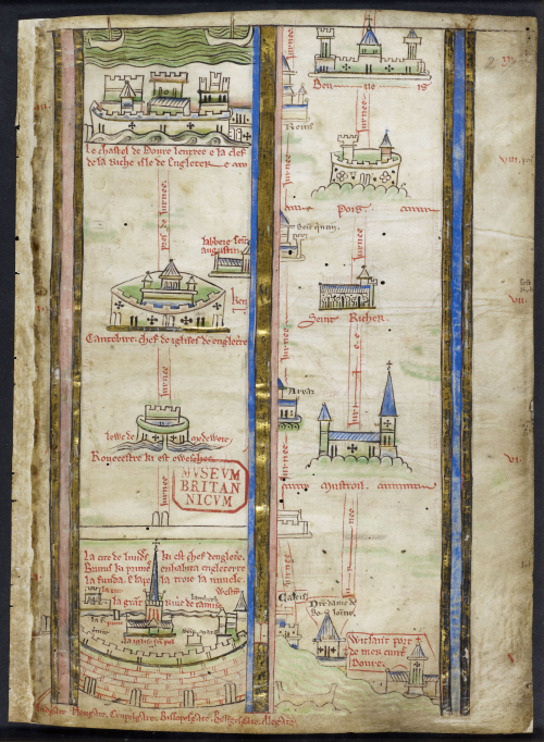 A page from a manuscript of Matthew Paris' Historia Anglorum, showing an itinerary from London to the Holy Land.