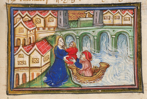 A detail from a manuscript of John Lydgate's Lives of Saints Edmund and Fremund, showing an illustration of a boy being saved from drowning in the Thames and taken by a boatman to his mother.