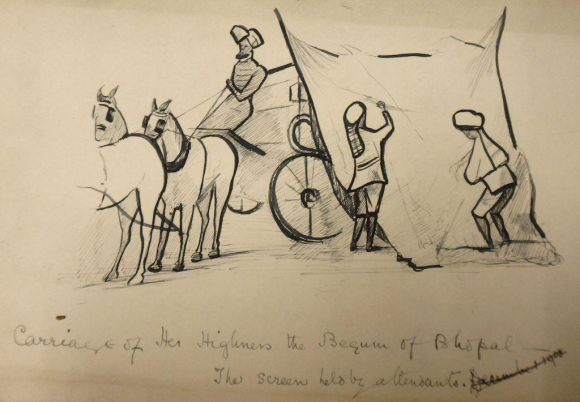 Sketch of Begums attendants  Mss Eur F182-11