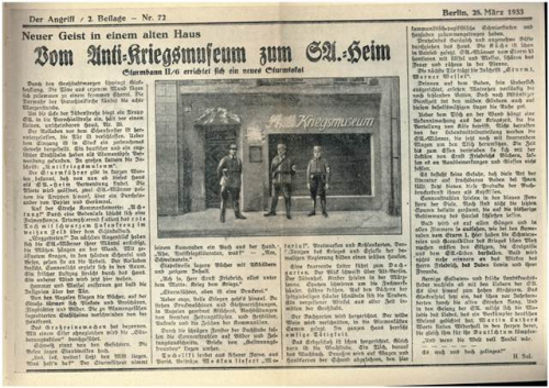 Newspaper article about the SA's takeover of the Peace Museum