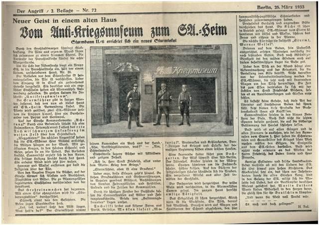 Friedensmuseum zur Hitlerkaserne nespaper facsim