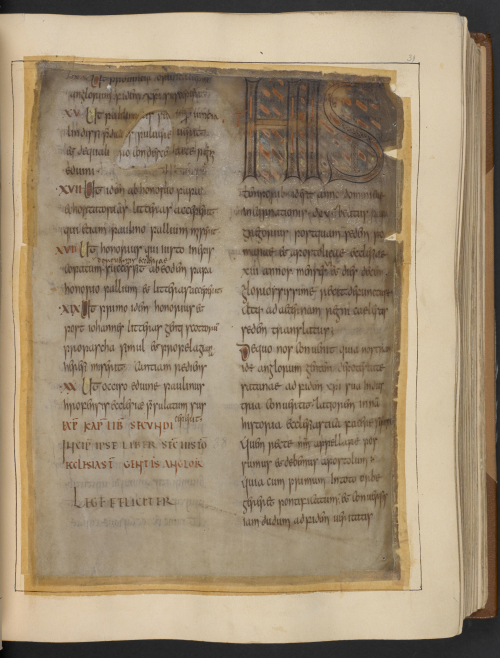 A page from a manuscript of Bede's Ecclesiastical History, damaged in the Cotton Fire of 1731.