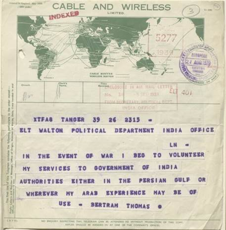 Telegram from Bertram Thomas to John Charles Walton at the India Office, 27 August 1939