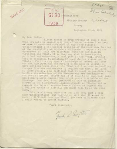 Letter from Frank Smythe to John Charles Walton of the India Office Political Department, 23 September 1939