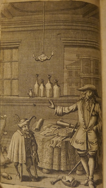 Engraving of a devil and a man from 'Le Diable Boiteux'