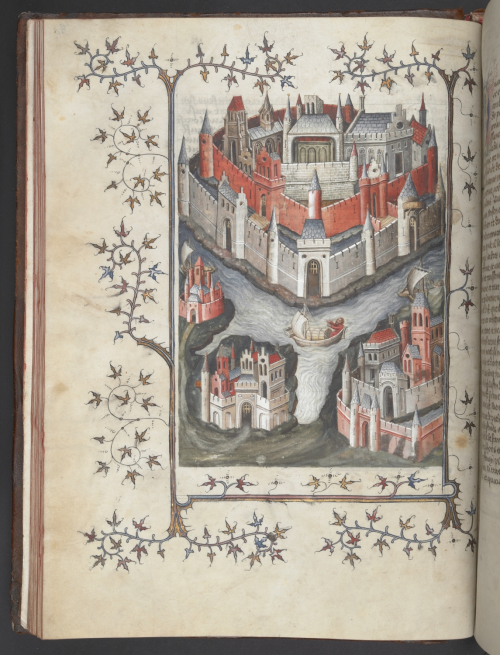 A page from a 15th-century manuscript of the Histoire universelle, showing an illustration of the city of Troy.