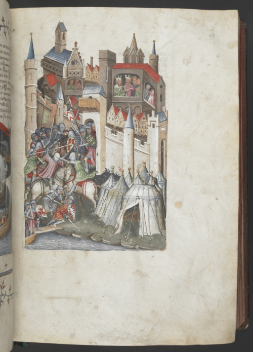 A page from a 15th-century manuscript of the Histoire universelle, showing an illustration of the Greek army attacking the city of Troy.