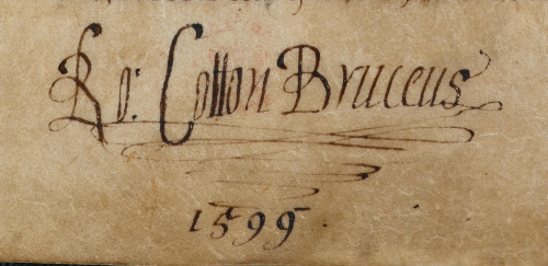 A detail from the Vespasian Psalter, showing the signature of Sir Robert Cotton in 1599.