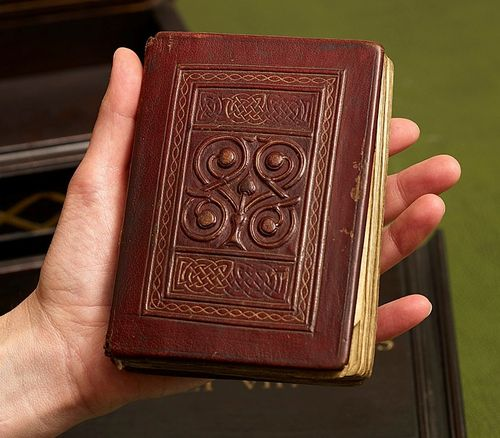 The upper cover of the St Cuthbert Gospel, with its original medieval binding.