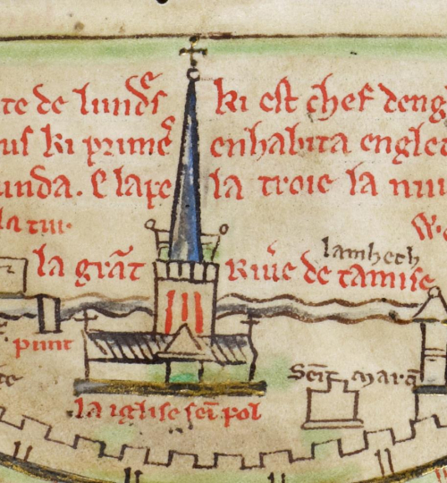 A detail from a manuscript of Matthew Paris' Historia Anglorum, showing an illustration of St Paul's Cathedral as it looked during the medieval period.