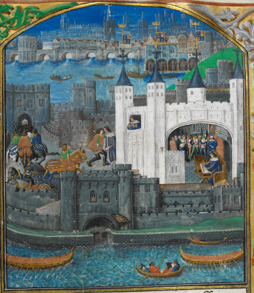 A detail from a manuscript of Charles D'Orleans' Poetry, showing an illustration of a view of the city of London, with a portrait of Charles writing in the Tower of London.