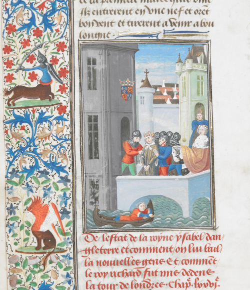 A detail from a manuscript of Froissart's Chronicles, showing an illustration of Richard II in the Tower of London.