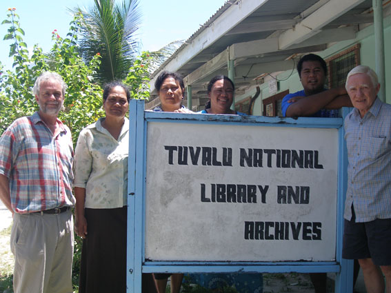 Group standing by the Tuvalu National Archives.