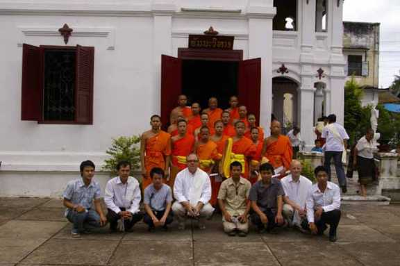 Group of monks and team that digitised the Buddhist Archive of Photography, Laos.