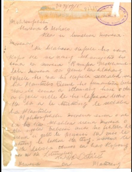 Letter, part of Lesotho archive.