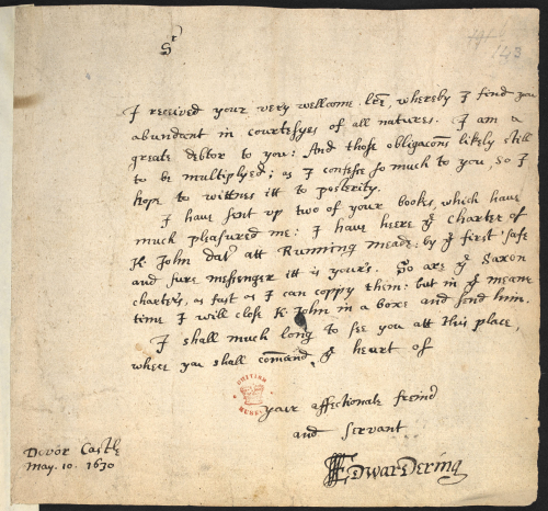 A page from a manuscript, showing the text of a letter from Sir Edward Dering to Sir Robert Cotton.