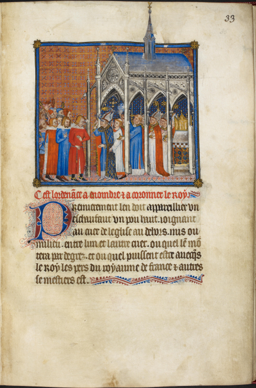 The opening page of the Coronation Book of King Charles V, showing an illustration of the arrival of the French king at Reims Cathedral.