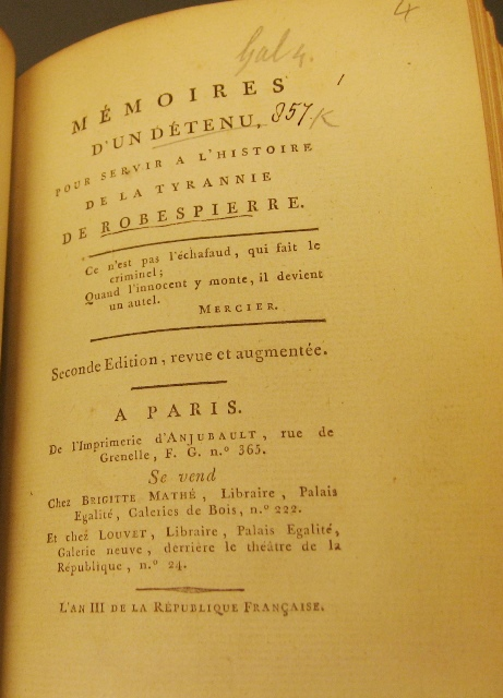 Baron Honore Riouffe Memoires Dun Detenu Pour Servir A Lhistoire De La Tyrannie Robespierre 2nd Ed Paris An III 1795 F8571 The Book