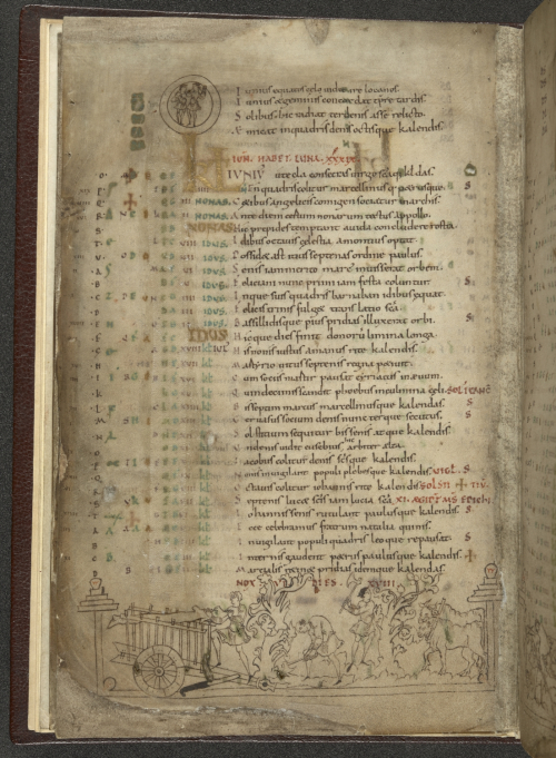 A page from an Anglo-Saxon calendar, showing the calendar for June, with an illustration of labourers pruning plants and collecting wood.