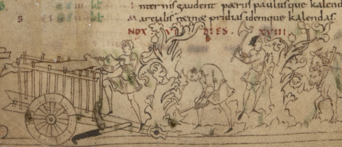 A detail from an Anglo-Saxon calendar, showing an illustration of labourers pruning plants and collecting wood.