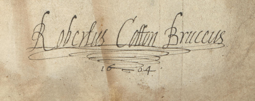 A detail from a 12th-century Glasgow pontifical, showing the signature of Sir Robert Cotton in 1604.