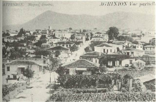 Black-and-white postcard of Agrinio