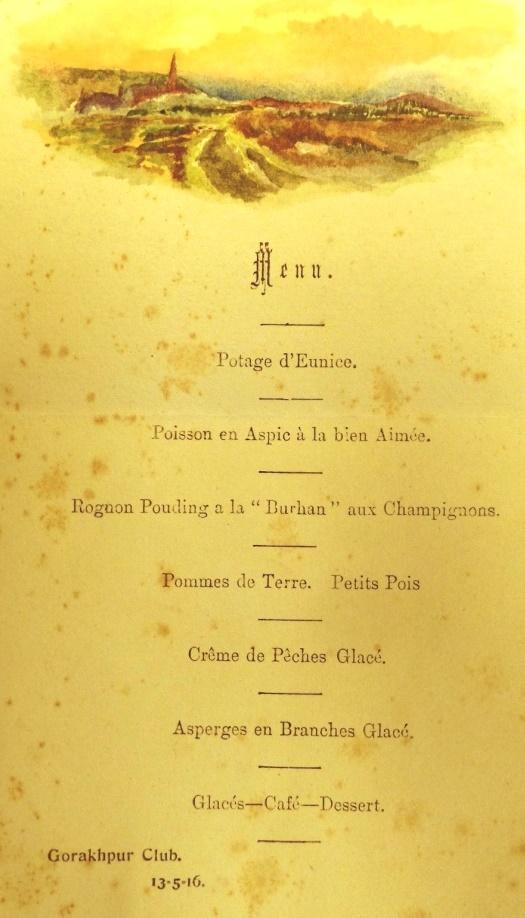 Mss Eur F700-1-3 menu from the Gorakhpur Club 1916