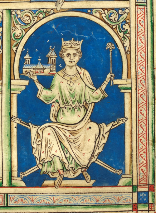 A detail from a manuscript of Matthew Paris' Historia Anglorum, showing a portrait of King Henry III holding Westminster Abbey.
