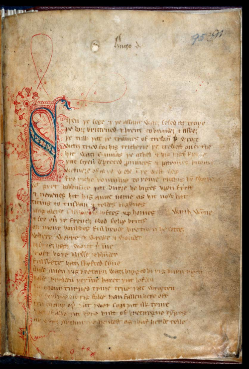 The opening of the Middle English poem Sir Gawain and the Green Knight, from the Gawain Manuscript.