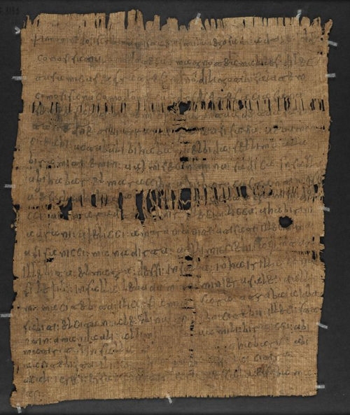 A papyrus, showing the text of a letter written in Latin and Arabic.