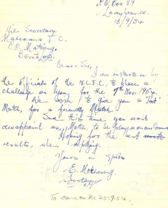Letter dating 13 September 1954.