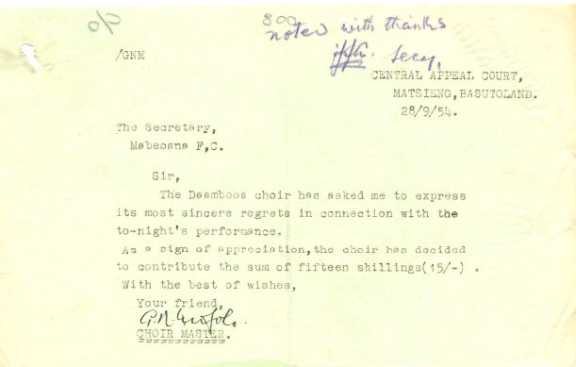 Letter dating 28 September 1954.