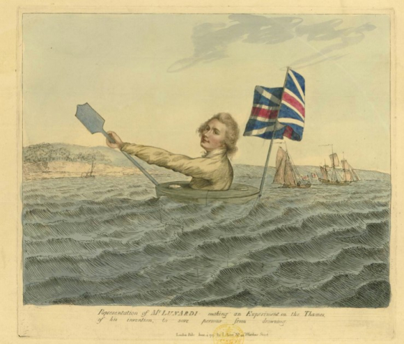 Colour picture of Mr Lunardi making an experiment on the Thames - rowing a contraption with a Union flag flying from it