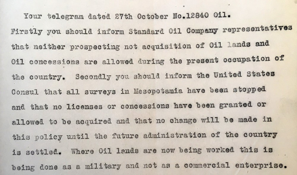 Extract of telegram from the Foreign Secretary to the Civil Commissioner in Mesopotamia, 10 November 1919