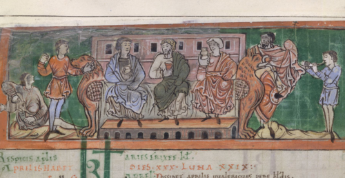 A detail from an 11th-century miscellany, showing an illustration of a feast.