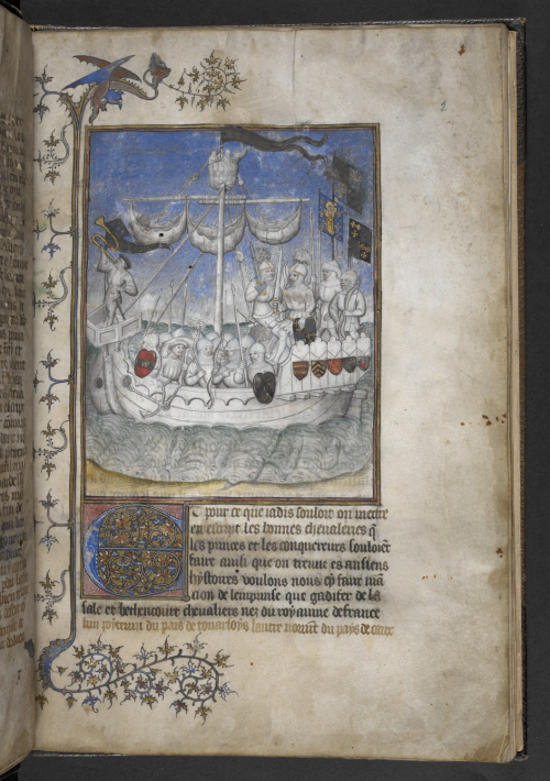 A page from a manuscript of the Conquête et les Conquérants des Iles Canaries, showing an illustration of knights sailing to conquer the Canary Islands.