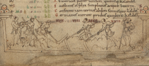 A detail from an Anglo-Saxon calendar, showing an illustration of labourers mowing.