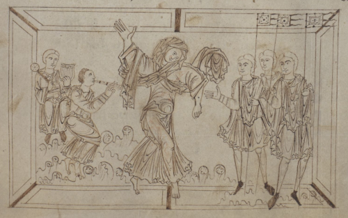 A detail from an 10th-century manuscript of the Psychomachia, showing an illustration of Luxuria and her companions dancing.