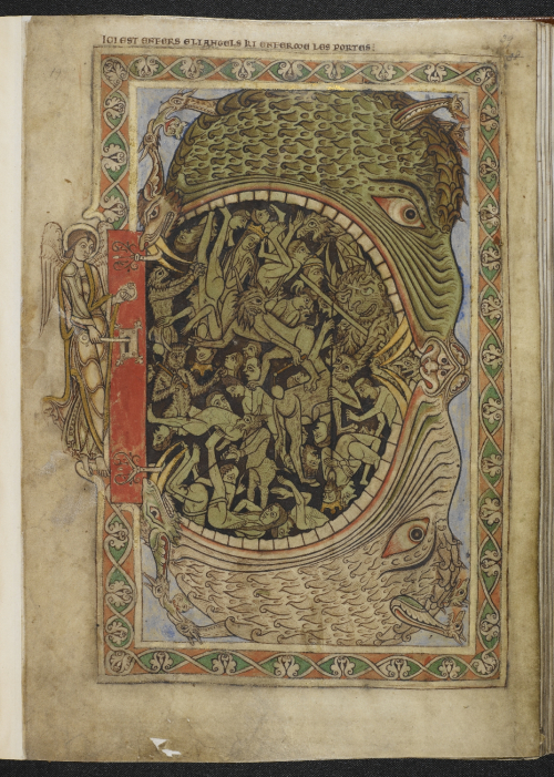 A page from the Winchester Psalter, showing an illustration of the Last Judgement, with an angel locking the door of Hell.