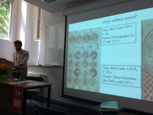 Francesco Siri presenting on the visual content in some of the project manuscripts