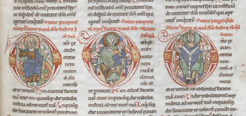 A detail from the Arnstein Bible, showing illustrations of Christ blessing, the Virgin and Child, and a bishop.