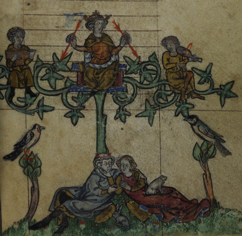 A detail from the Maastricht Hours, showing a marginal illustration of the king of love in a tree, while a couple sit together below.